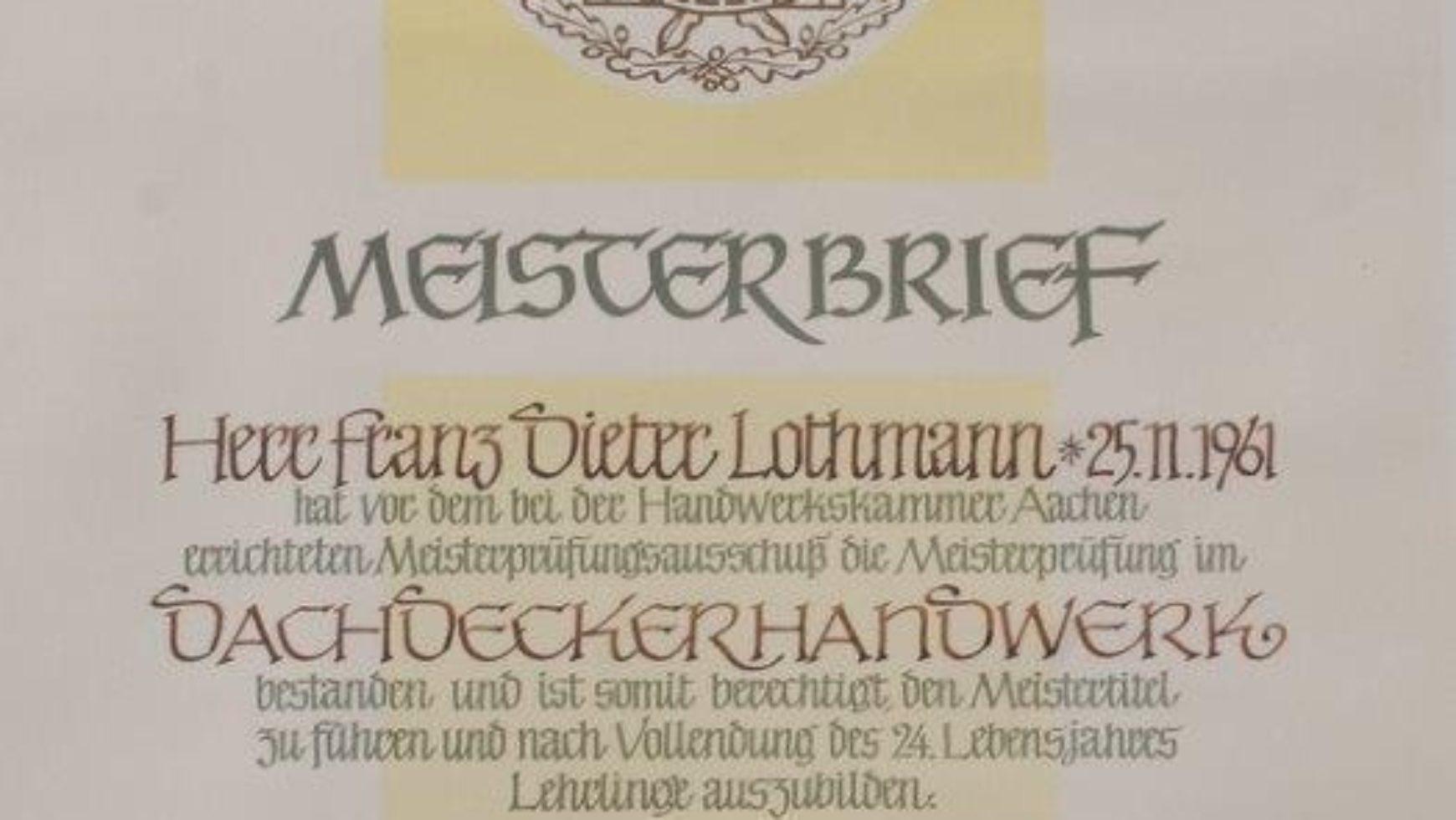 Meisterbrief Geschäftsführer Dieter Lothmann
