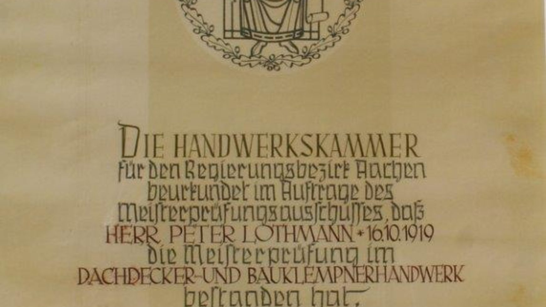 Meisterbrief vom Firmengründer Peter Lothmann