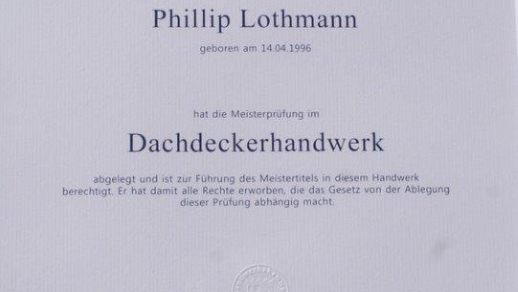 Meisterbrief Phillip Lothmann